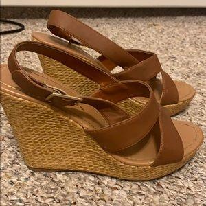 Charlotte Russe Brown Strappy Summer Wedges Heels